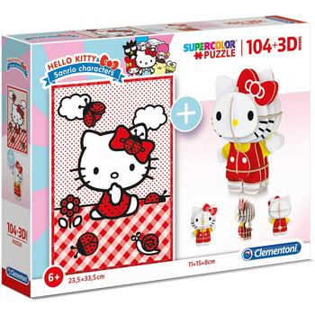 Puzzle Hello Kitty 104 pcs 3D junior