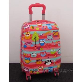 Kofer dečiji sa točkićima i ručkom Sovice